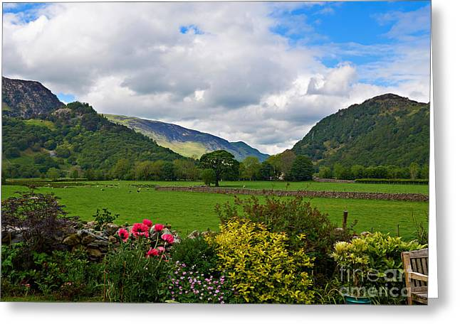 Maiden Greeting Cards - Borrowdale from a pretty garden in Rosthwaite Greeting Card by Louise Heusinkveld