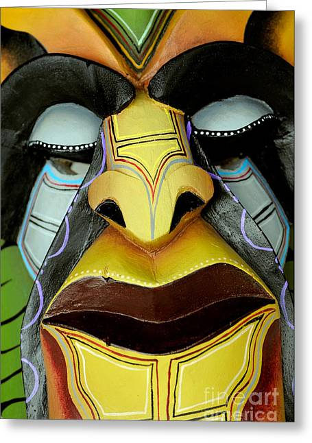 Woodworking Art Greeting Cards - Boruca Devil Mask Greeting Card by Theodore Clutter