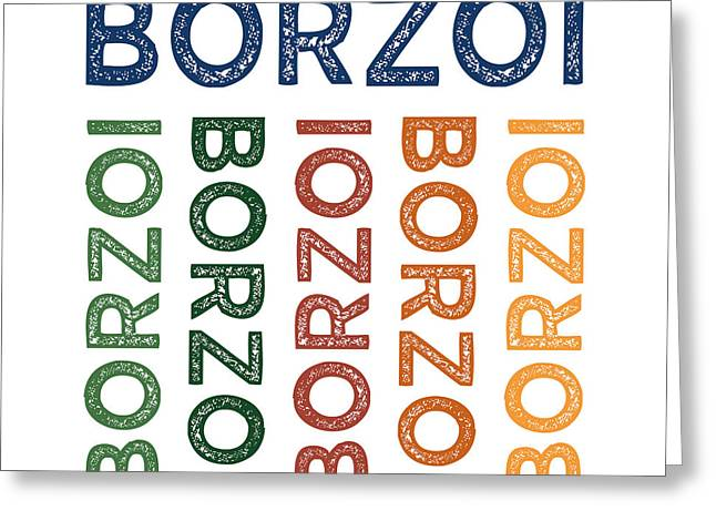 Owner Digital Greeting Cards - Borzoi Cute Colorful Greeting Card by Flo Karp