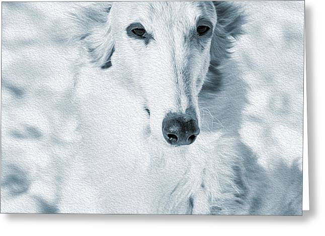 borzoi russian hound portrait Greeting Card by Christian Lagereek