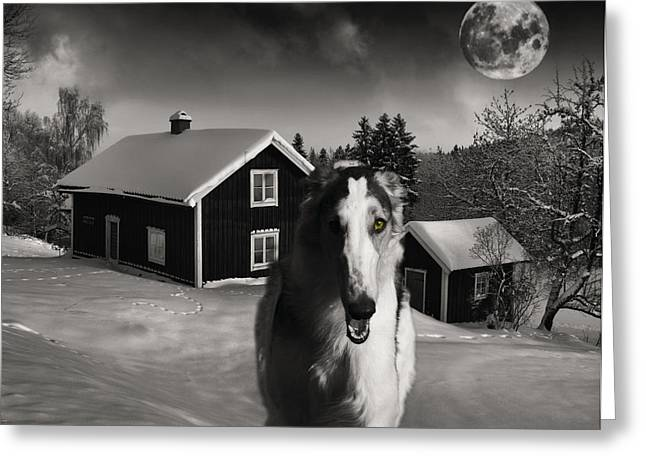 Sight Hound Greeting Cards - Borzoi wolf hound on a midnight hunt Greeting Card by Christian Lagereek