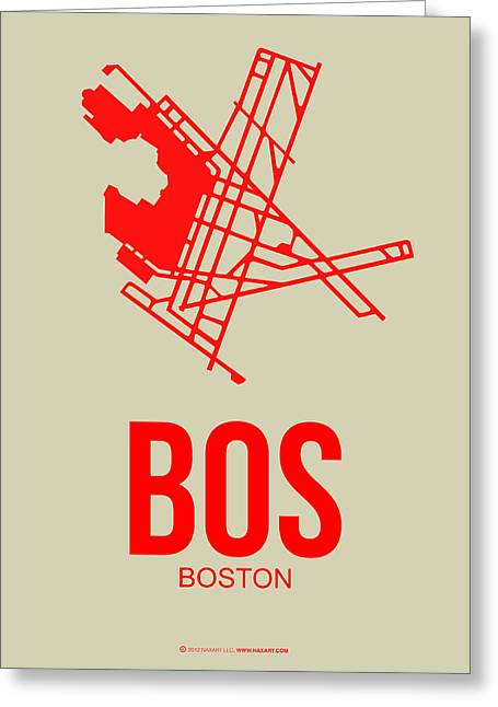 Plane Greeting Cards - BOS Boston Airport Poster 1 Greeting Card by Naxart Studio
