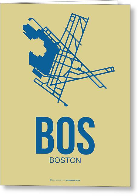 Tourists Greeting Cards - BOS Boston Airport Poster 3 Greeting Card by Naxart Studio
