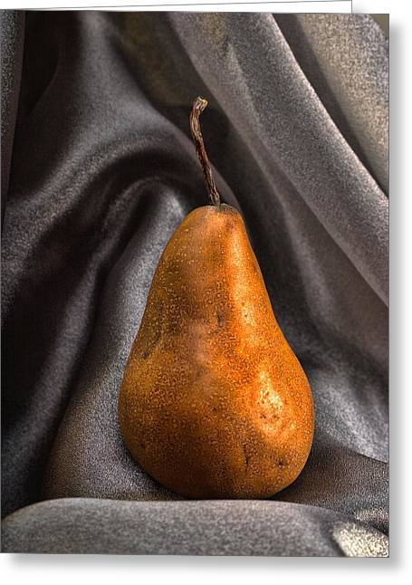 Pear Pyrography Greeting Cards - Bosc Pear Greeting Card by Jerry Hetrick
