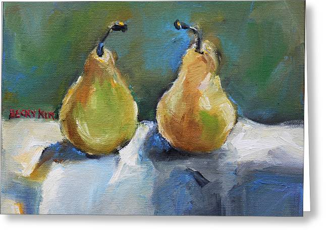 Bosc Pears Greeting Card by Becky Kim