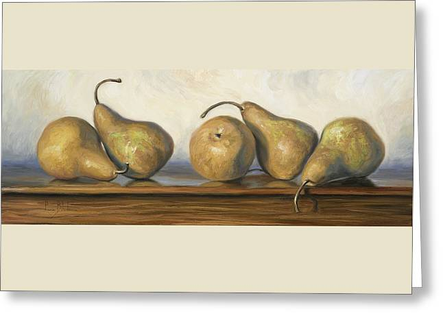 Bosc Greeting Cards - Bosc Pears Greeting Card by Lucie Bilodeau