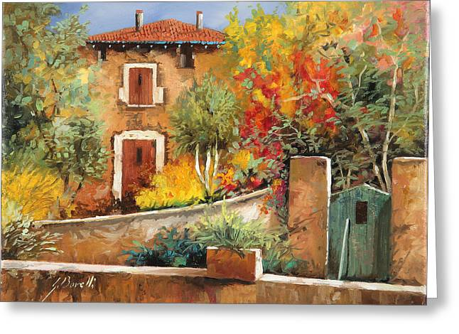 Villa Paintings Greeting Cards - Bosco Giallo Greeting Card by Guido Borelli