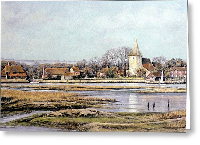 Rural Scene Pastels Greeting Cards - Bosham Harbour Greeting Card by Rosemary Colyer