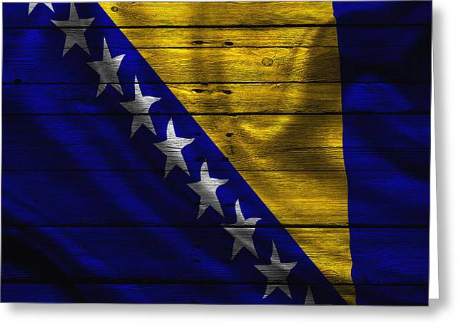 Flag Pole Greeting Cards - Bosnia Greeting Card by Joe Hamilton