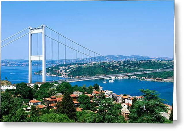 Istanbul Greeting Cards - Bosphorus Bridge, Istanbul, Turkey Greeting Card by Panoramic Images
