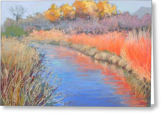 Fall Colors Pastels Greeting Cards - Bosque del Apache Greeting Card by Mary Olivera