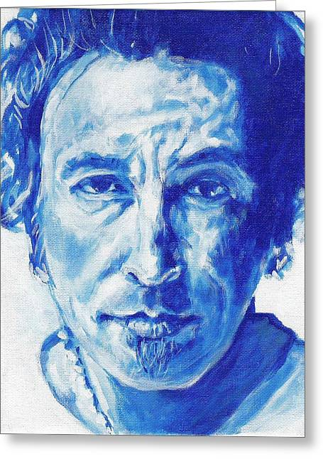 Bruce Springsteen Artwork Greeting Cards - Boss In Blue Greeting Card by Paul Smutylo