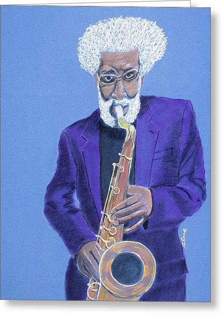 African-americans Pastels Greeting Cards - Boss Tenor Greeting Card by Charlie Black