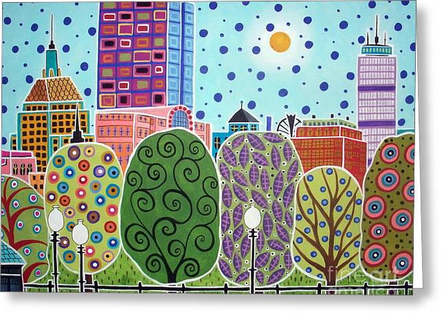 Boston Skyline Greeting Cards - Boston Abstract Greeting Card by Karla Gerard