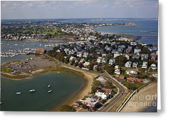 New England Marina Park Greeting Cards - Boston Aerial View Greeting Card by Alanna DPhoto