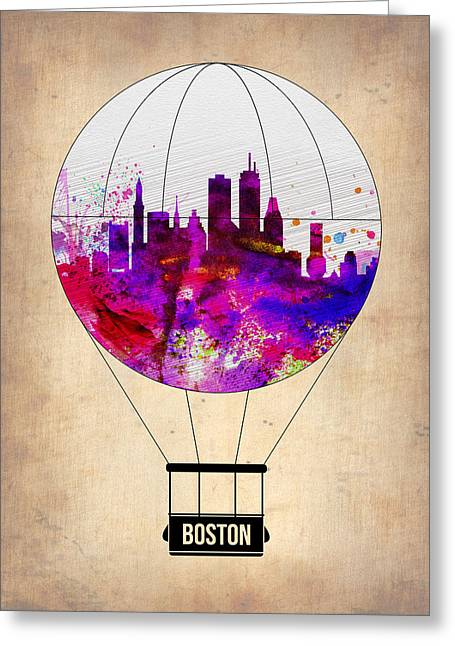 Plane Greeting Cards - Boston Air Balloon Greeting Card by Naxart Studio