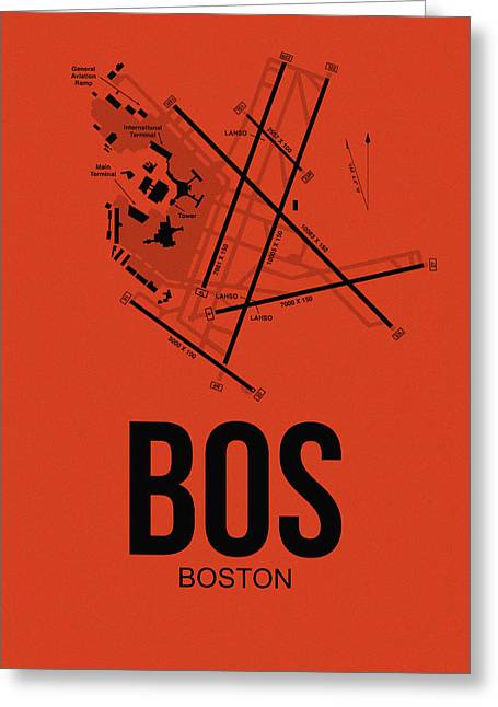 Airports Greeting Cards - Boston Airport Poster 2 Greeting Card by Naxart Studio