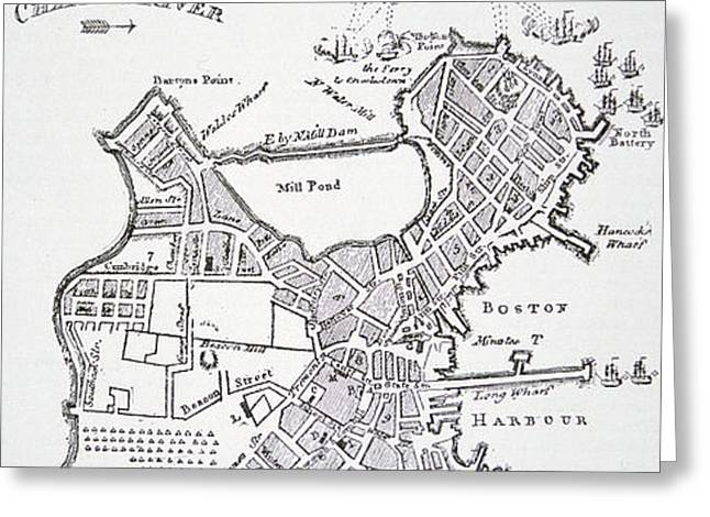 Boston and Bunker Hill 1781 Greeting Card by American School