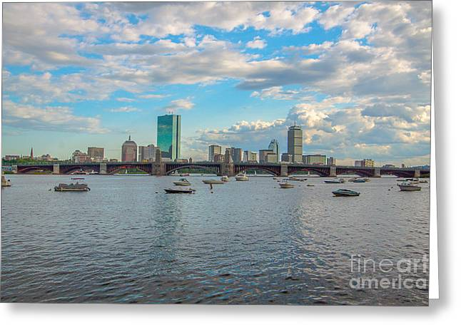 Boston Ma Greeting Cards - Boston and Clouds Greeting Card by Brian MacLean