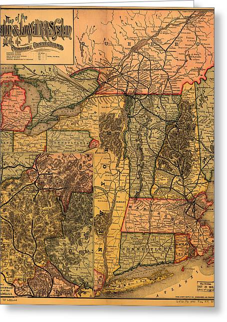 1880s Photographs Greeting Cards - Boston and Lowell Railroad Map 1886 Greeting Card by Mountain Dreams
