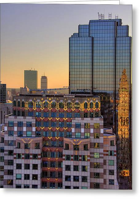 Boston Architecture Reflections Greeting Card by Joann Vitali