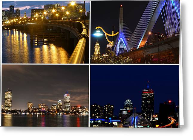 Oxford. Oxford Ma. Massachusetts Greeting Cards - Boston at Night Collage Greeting Card by Toby McGuire