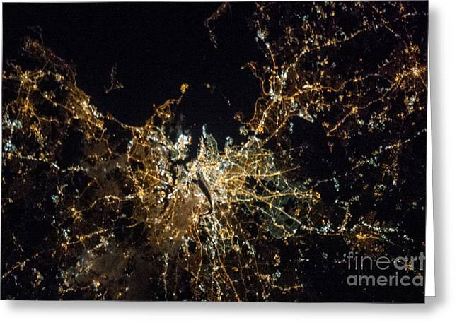 Inhabited Environment Greeting Cards - Boston At Night, Iss Image Greeting Card by Nasa