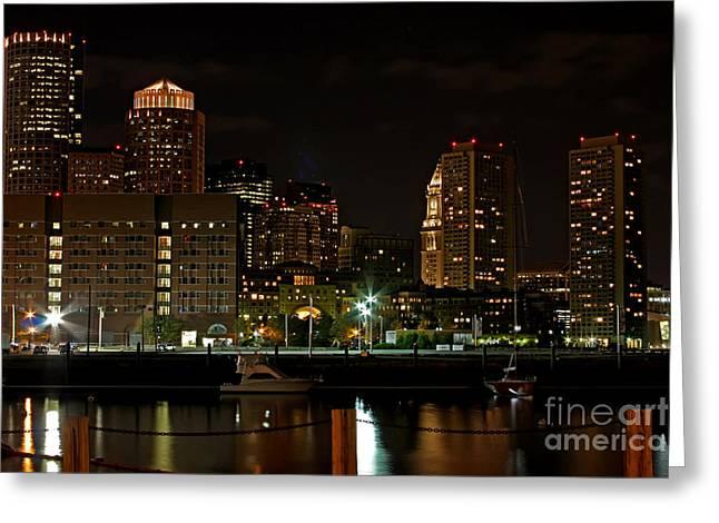Boston Ma Greeting Cards - Boston at Night Greeting Card by Jayne Carney
