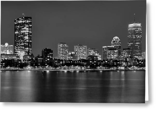 Boston Nights Greeting Cards - Boston Back Bay Skyline at Night Black and White BW Panorama Greeting Card by Jon Holiday