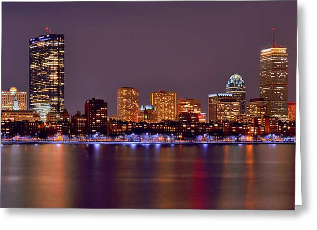 Boston Harbor Greeting Cards - Boston Back Bay Skyline at Night Color Panorama Greeting Card by Jon Holiday