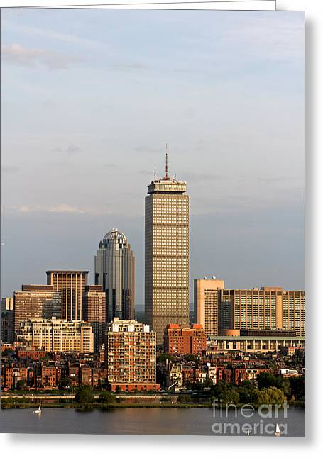 Charles River Pyrography Greeting Cards - Boston Back Bay with the Prudential Tower Greeting Card by Jannis Werner