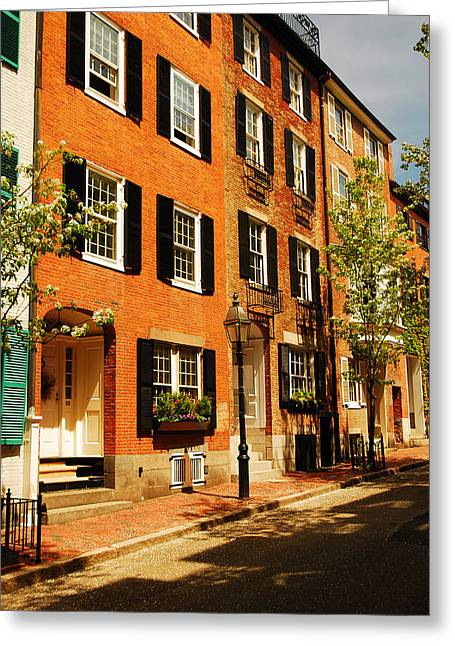 Dwell Greeting Cards - Boston Beacon Hill Greeting Card by James Kirkikis