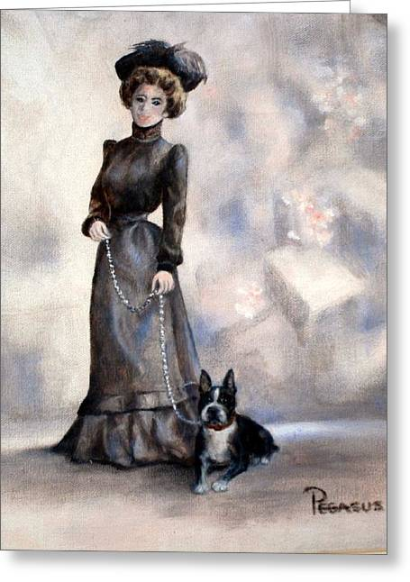 Puppy Greeting Cards - Boston Beauties  -  Vintage Collection Greeting Card by Beverly Pegasus