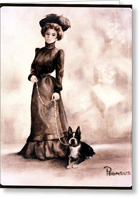 Puppy Greeting Cards - Boston Beauties 2  -  Vintage Collection Greeting Card by Beverly Pegasus