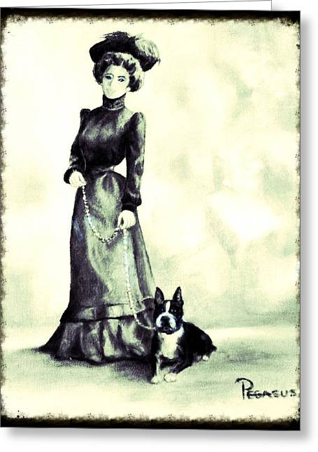 Boston Beauties 3 - Vintage Collection Greeting Card by Beverly Pegasus