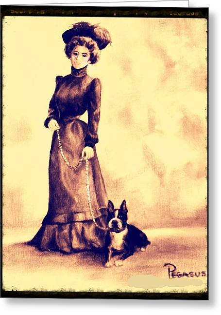 Boston Beauties 4 - Vintage Collection Greeting Card by Beverly Pegasus