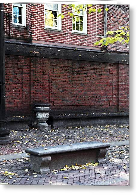 Americana Pictures Greeting Cards - Boston Bench Greeting Card by John Rizzuto