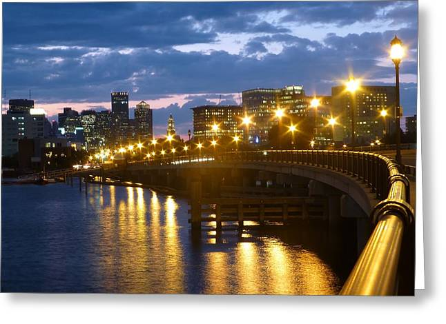 Boston Ma Greeting Cards - Boston Blue Hour Greeting Card by Toby McGuire