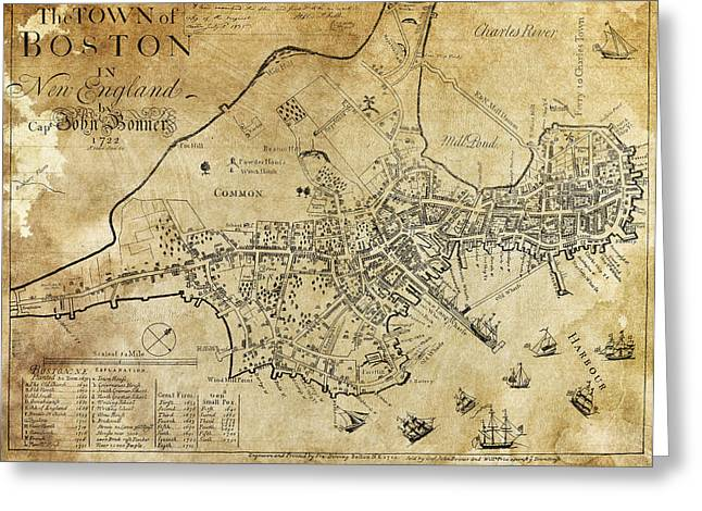 Dominion Greeting Cards - Boston Bonner Map 1722 Greeting Card by Daniel Hagerman