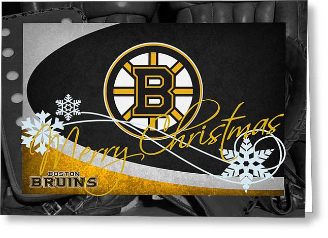 Skates Greeting Cards - Boston Bruins Christmas Greeting Card by Joe Hamilton