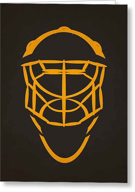 Boston Iphone Cases Greeting Cards - Boston Bruins Goalie Mask Greeting Card by Joe Hamilton