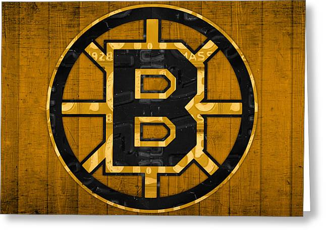 Boston Bruins Greeting Cards - Boston Bruins Hockey Team Retro Logo Vintage Recycled Massachusetts License Plate Art Greeting Card by Design Turnpike
