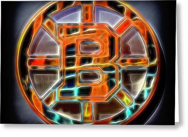 Professional Ice Hockey Greeting Cards - Boston Bruins Logo Greeting Card by Stephen Stookey