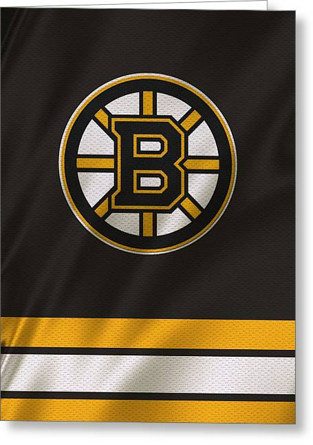 Ice Skates Greeting Cards - Boston Bruins Uniform Greeting Card by Joe Hamilton