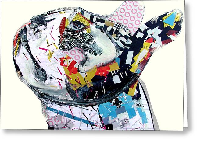 Fine Mixed Media Greeting Cards - Boston Bull Greeting Card by Bri Buckley