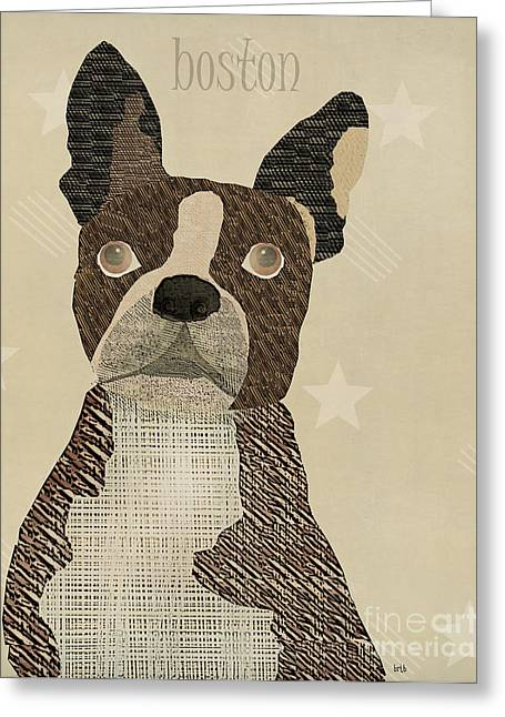 Whimsical. Greeting Cards - Boston Bulldog  Greeting Card by Bri Buckley