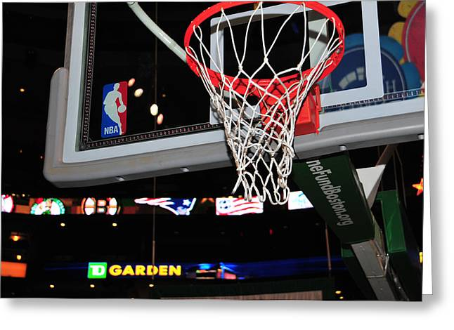 Boston Celtics' Basket Greeting Card by Mike Martin