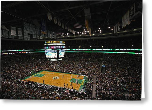 Td Garden Greeting Cards - Boston Celtics Basketball Greeting Card by Juergen Roth