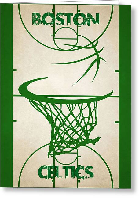 Celtics Basketball Greeting Cards - Boston Celtics Court Greeting Card by Joe Hamilton