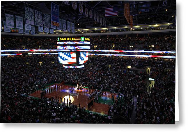 National Anthem Greeting Cards - Boston Celtics Under The Star Spangled Banner Greeting Card by Juergen Roth